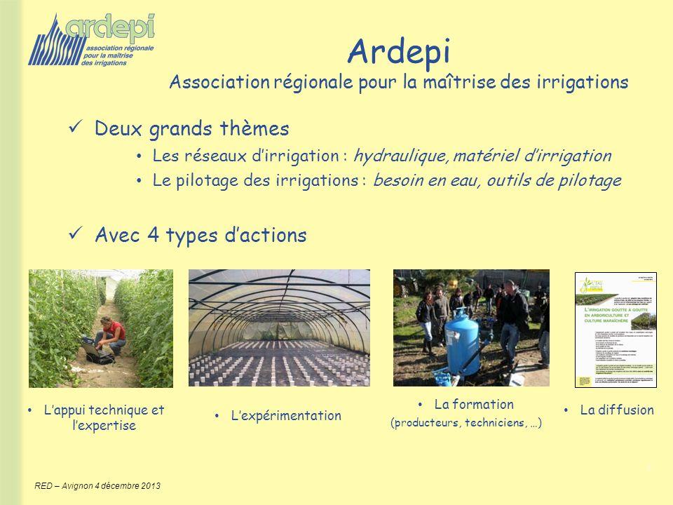 2 RED – Avignon 4 décembre 2013 Ardepi Association régionale pour la maîtrise des irrigations Deux grands thèmes Les réseaux dirrigation : hydraulique