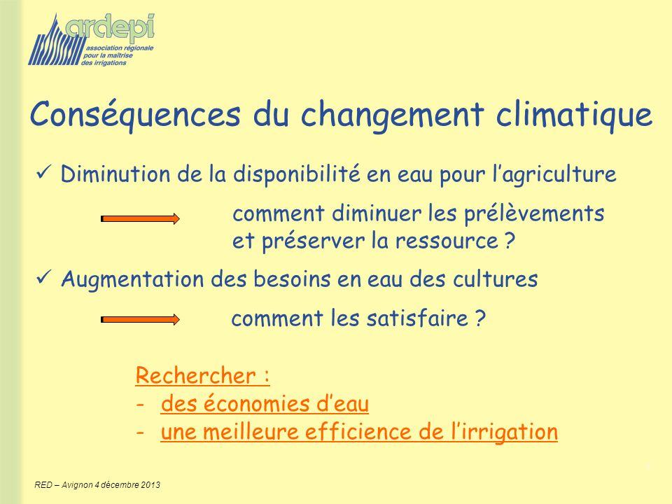 3 RED – Avignon 4 décembre 2013 Conséquences du changement climatique Diminution de la disponibilité en eau pour lagriculture comment diminuer les pré