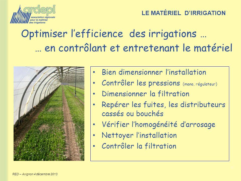 6 RED – Avignon 4 décembre 2013 Optimiser lefficience des irrigations … … en contrôlant et entretenant le matériel LE MATÉRIEL DIRRIGATION Bien dimens