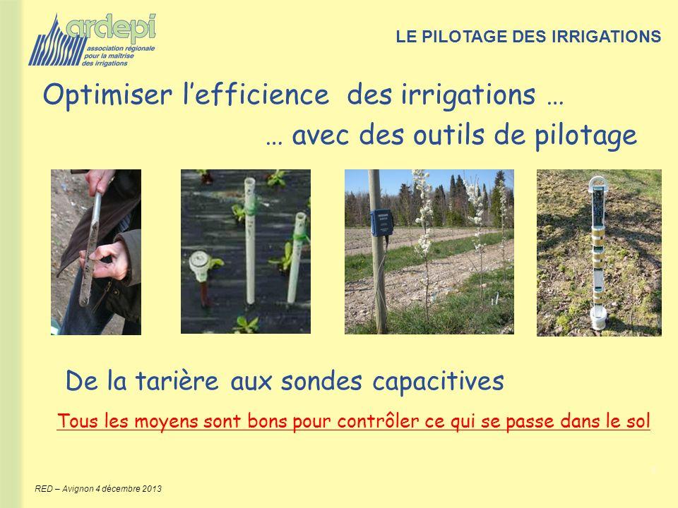 8 RED – Avignon 4 décembre 2013 De la tarière aux sondes capacitives Tous les moyens sont bons pour contrôler ce qui se passe dans le sol LE PILOTAGE