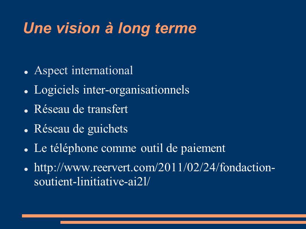Une vision à long terme Aspect international Logiciels inter-organisationnels Réseau de transfert Réseau de guichets Le téléphone comme outil de paiement http://www.reervert.com/2011/02/24/fondaction- soutient-linitiative-ai2l/