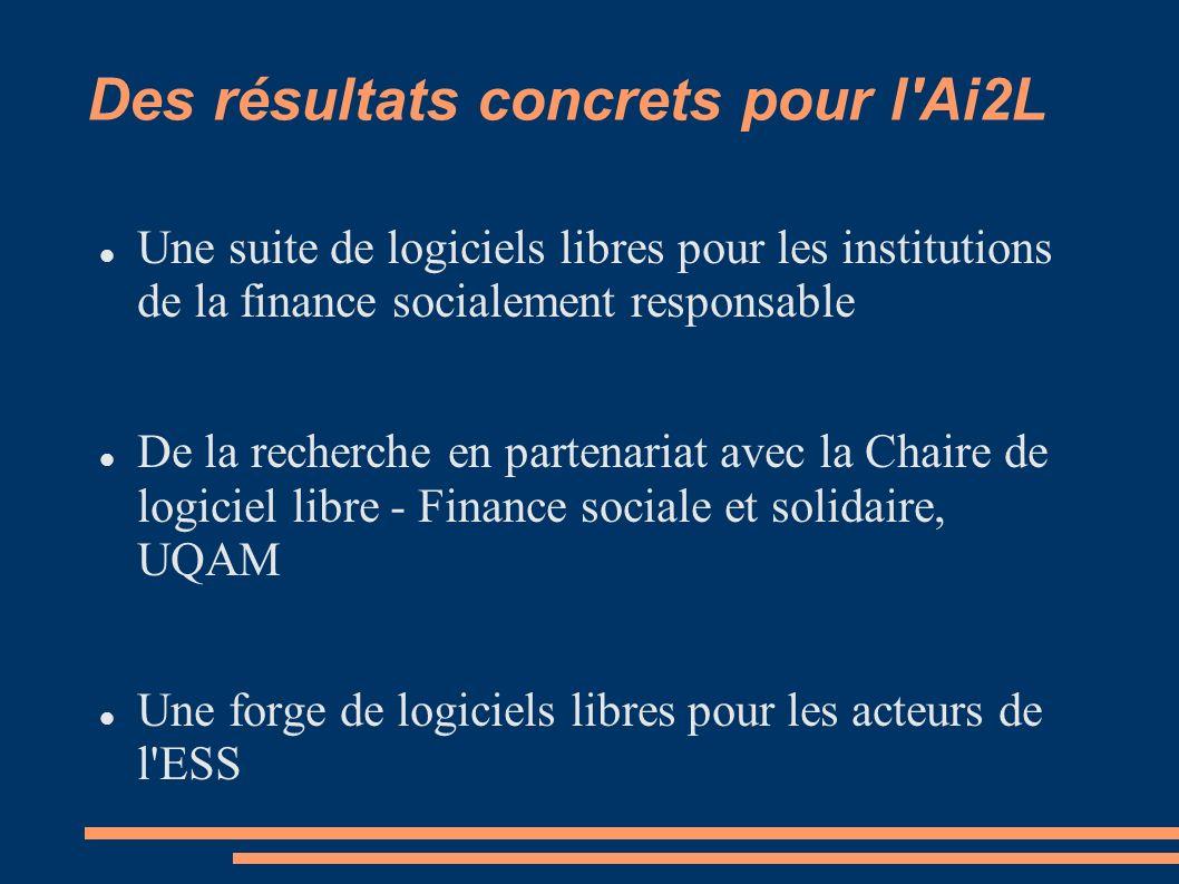 Une suite de logiciels libres pour les institutions de la finance socialement responsable De la recherche en partenariat avec la Chaire de logiciel libre - Finance sociale et solidaire, UQAM Une forge de logiciels libres pour les acteurs de l ESS Des résultats concrets pour l Ai2L