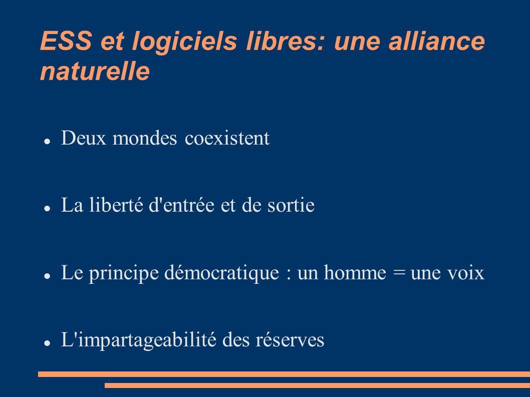 ESS et logiciels libres: une alliance naturelle Deux mondes coexistent La liberté d entrée et de sortie Le principe démocratique : un homme = une voix L impartageabilité des réserves