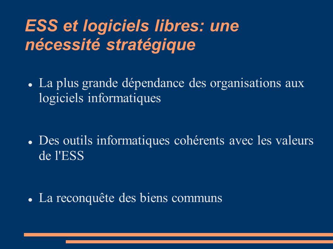 La plus grande dépendance des organisations aux logiciels informatiques Des outils informatiques cohérents avec les valeurs de l ESS La reconquête des biens communs ESS et logiciels libres: une nécessité stratégique