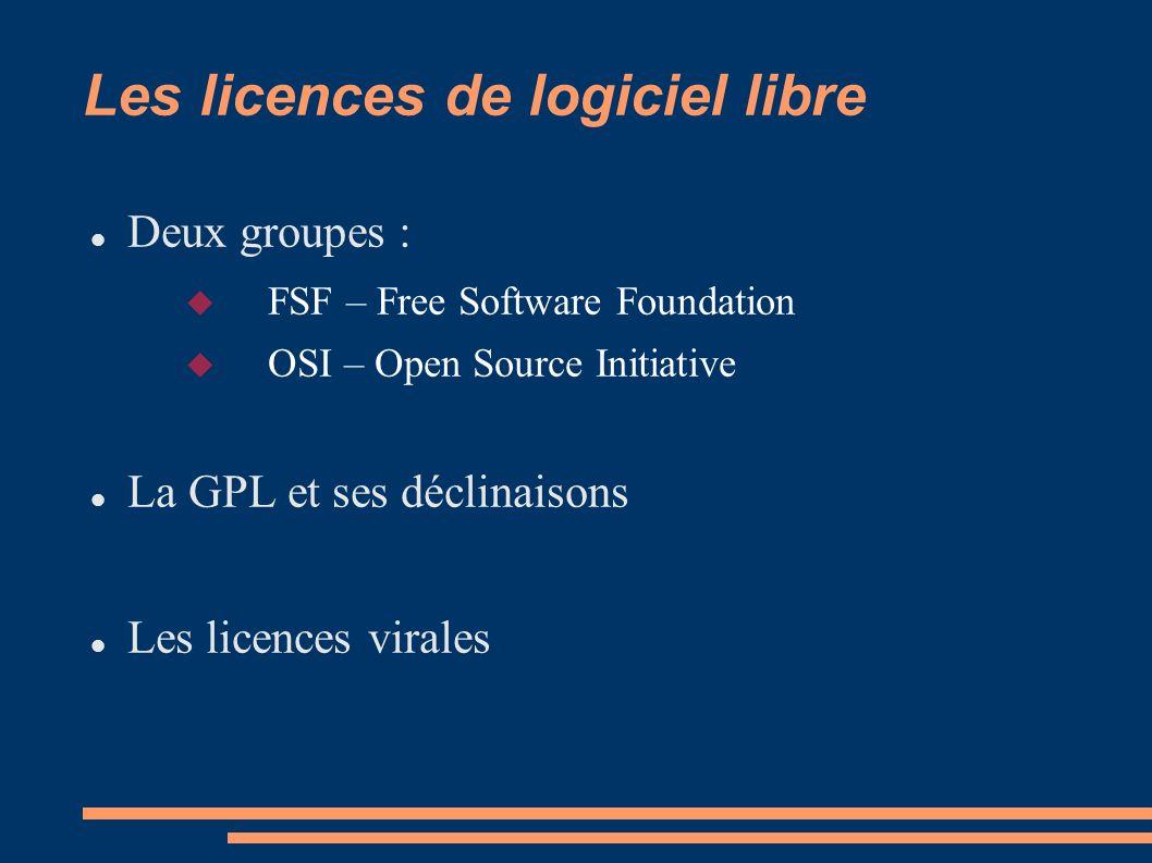 Les licences de logiciel libre Deux groupes : FSF – Free Software Foundation OSI – Open Source Initiative La GPL et ses déclinaisons Les licences virales