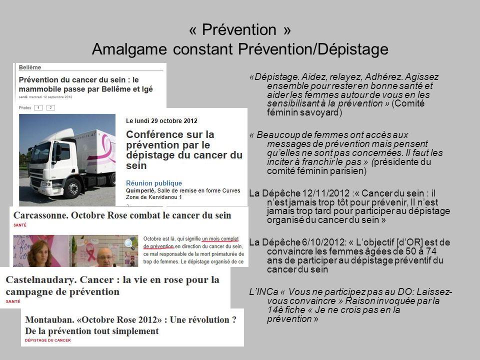 « Prévention » Amalgame constant Prévention/Dépistage «Dépistage.