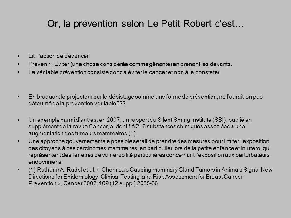Or, la prévention selon Le Petit Robert cest… Lit: laction de devancer Prévenir : Eviter (une chose considérée comme gênante) en prenant les devants.