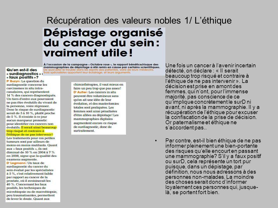 Récupération des valeurs nobles 1/ Léthique Une fois un cancer à lavenir incertain détecté, on déclare : « Il serait beaucoup trop risqué et contraire à léthique de ne pas intervenir ».