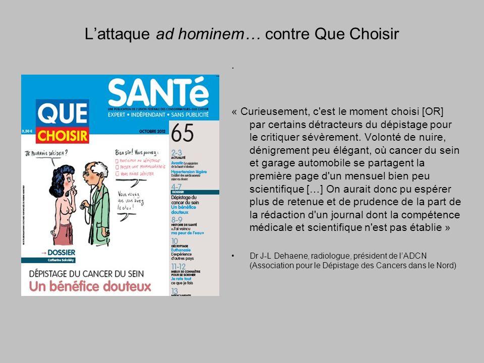 Lattaque ad hominem… contre Que Choisir.