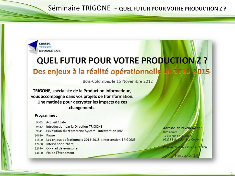 1 Séminaire TRIGONE - QUEL FUTUR POUR VOTRE PRODUCTION Z ?