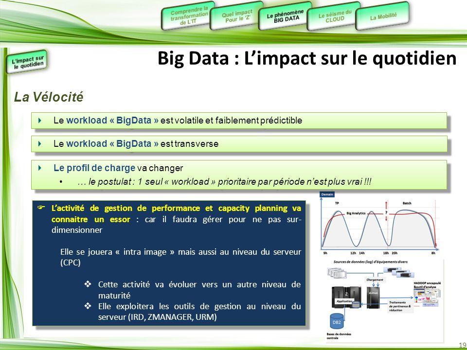 19 Big Data : Limpact sur le quotidien Lactivité de gestion de performance et capacity planning va connaitre un essor : car il faudra gérer pour ne pa