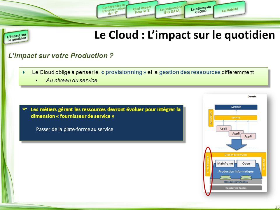 28 Le Cloud : Limpact sur le quotidien Le Cloud oblige à penser le « provisionning » et la gestion des ressources différemment Au niveau du service Le
