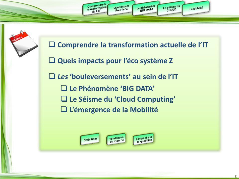 8 Comprendre la transformation actuelle de lIT Quels impacts pour léco système Z Les bouleversements au sein de lIT Le Phénomène BIG DATA Le Séisme du