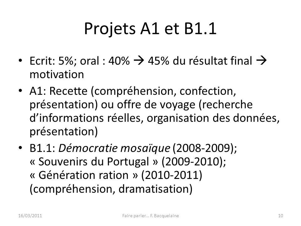 Projets A1 et B1.1 Ecrit: 5%; oral : 40% 45% du résultat final motivation A1: Recette (compréhension, confection, présentation) ou offre de voyage (re