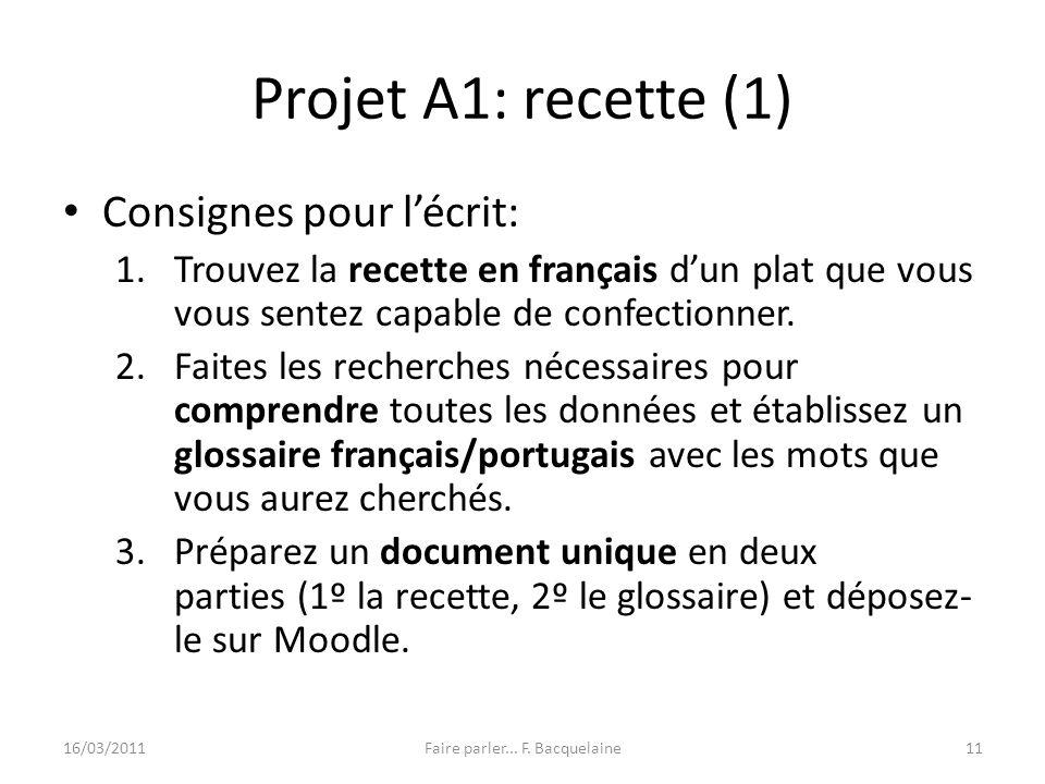 Projet A1: recette (1) Consignes pour lécrit: 1.Trouvez la recette en français dun plat que vous vous sentez capable de confectionner. 2.Faites les re