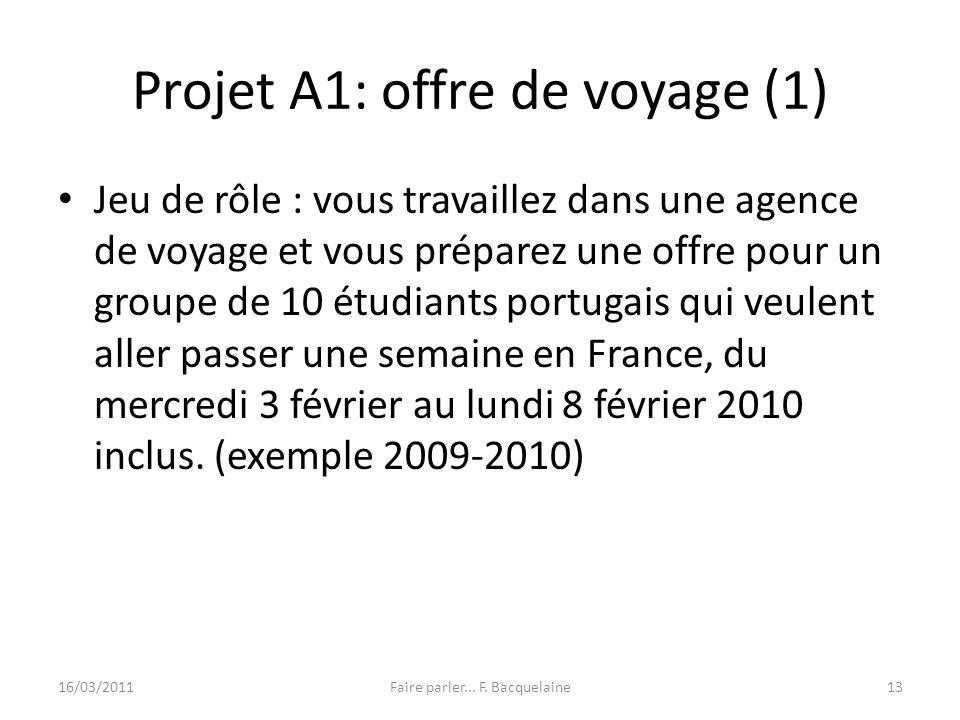 Projet A1: offre de voyage (1) Jeu de rôle : vous travaillez dans une agence de voyage et vous préparez une offre pour un groupe de 10 étudiants portu