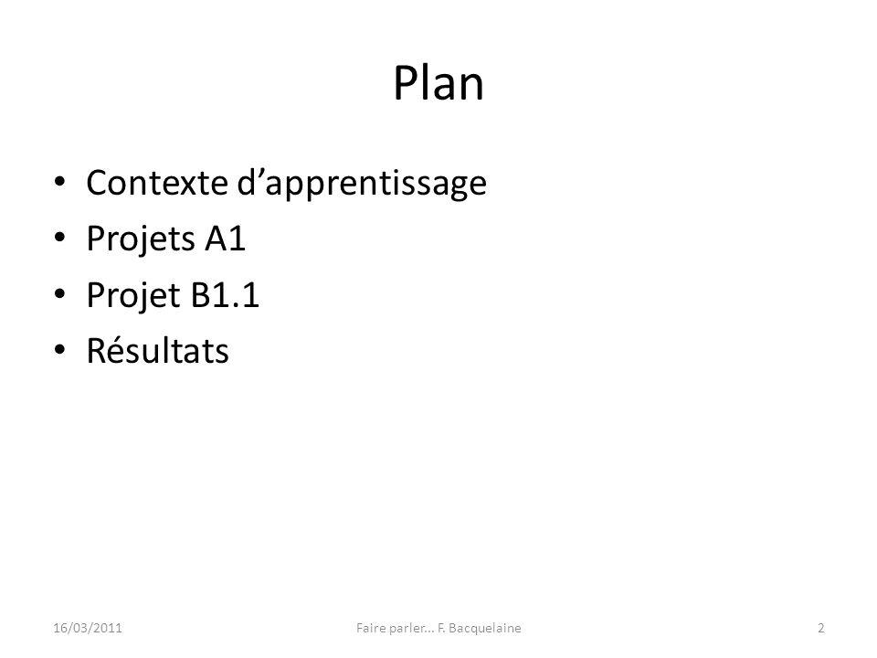 Plan Contexte dapprentissage Projets A1 Projet B1.1 Résultats 16/03/2011Faire parler... F. Bacquelaine2