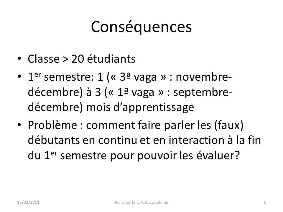 Conséquences Classe > 20 étudiants 1 er semestre: 1 (« 3ª vaga » : novembre- décembre) à 3 (« 1ª vaga » : septembre- décembre) mois dapprentissage Pro