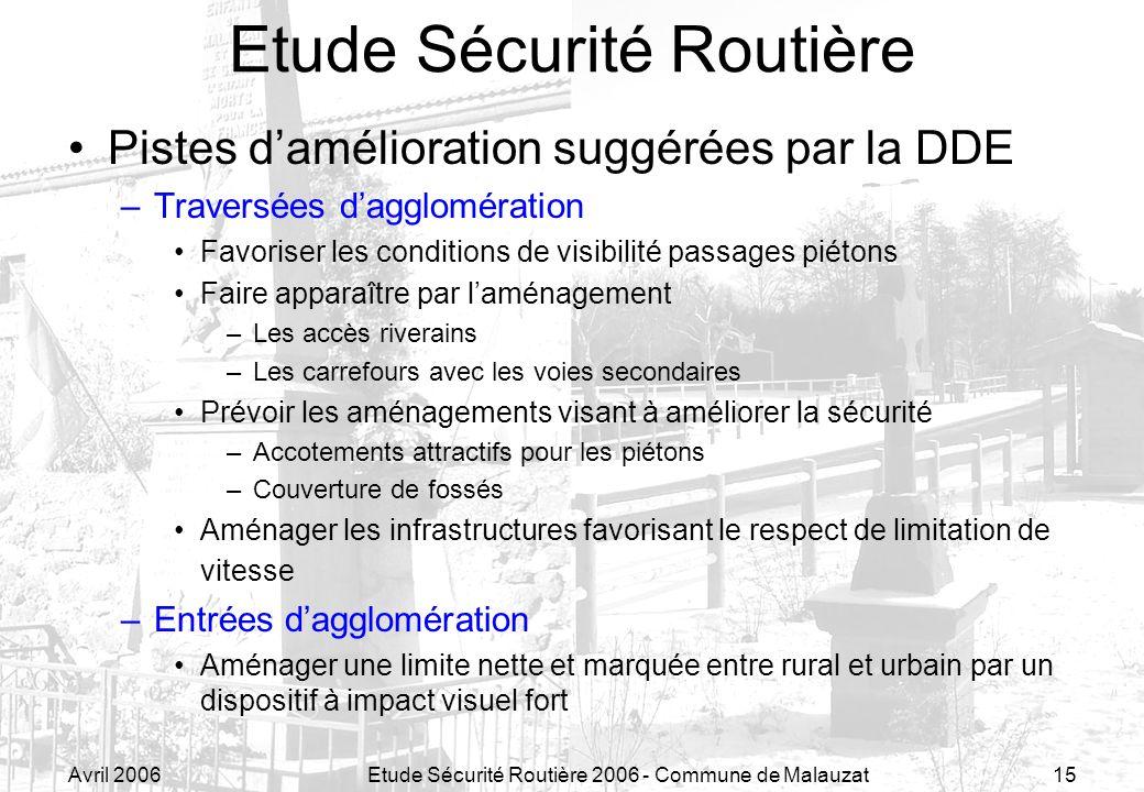 Avril 2006Etude Sécurité Routière 2006 - Commune de Malauzat15 Etude Sécurité Routière Pistes damélioration suggérées par la DDE –Traversées dagglomér