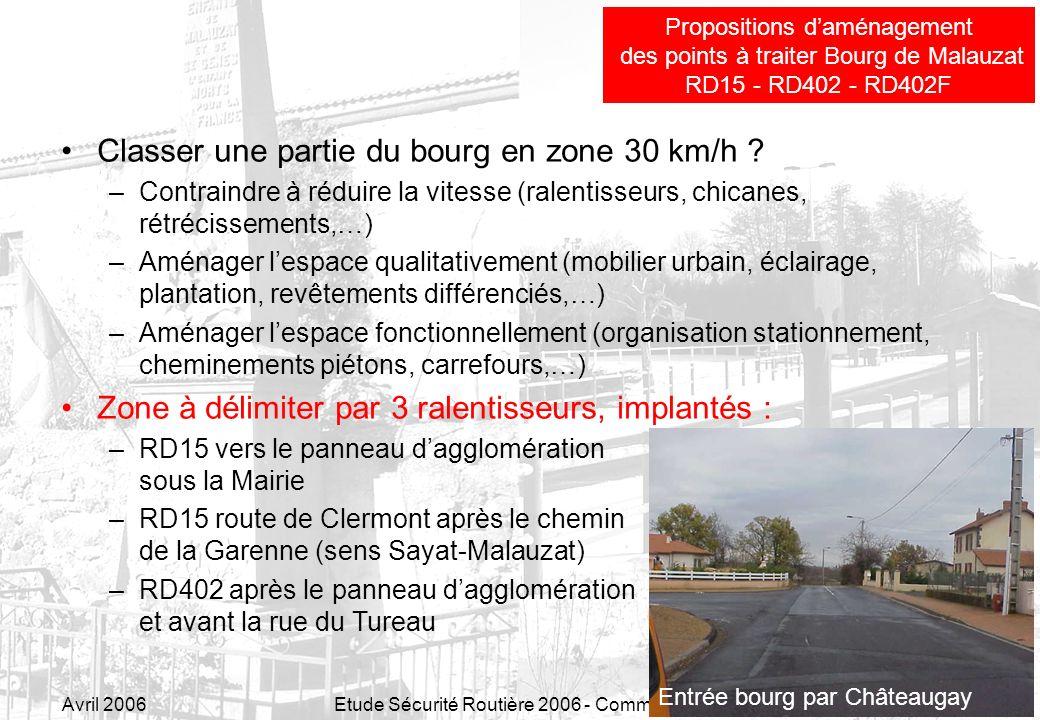 Avril 2006Etude Sécurité Routière 2006 - Commune de Malauzat23 Classer une partie du bourg en zone 30 km/h ? –Contraindre à réduire la vitesse (ralent