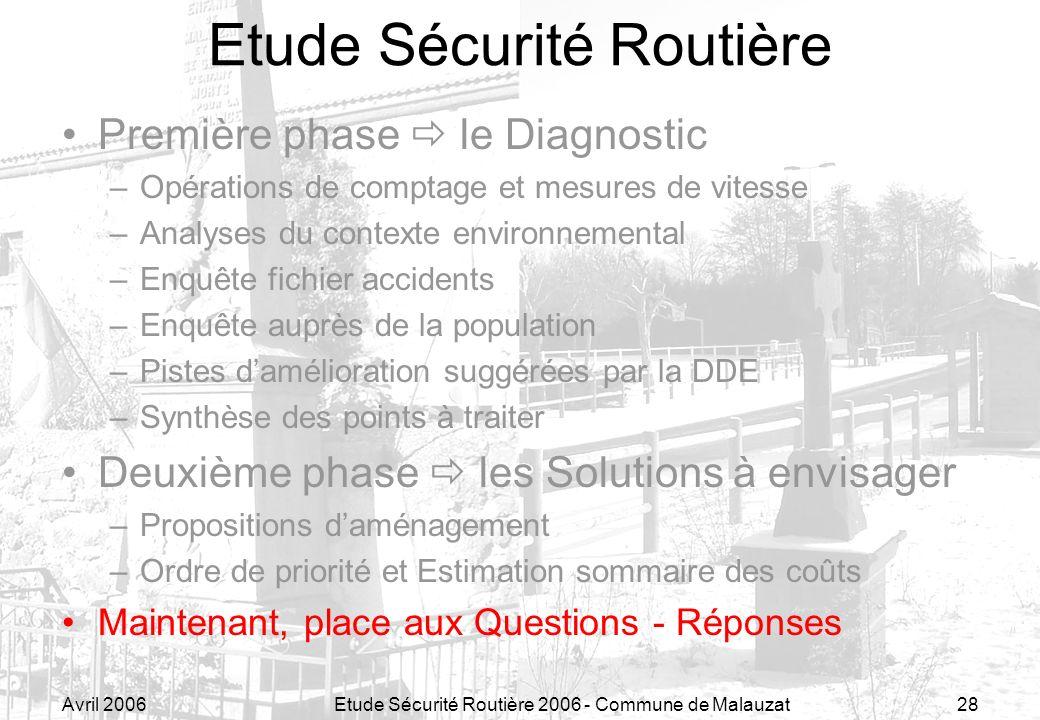 Avril 2006Etude Sécurité Routière 2006 - Commune de Malauzat28 Etude Sécurité Routière Première phase le Diagnostic –Opérations de comptage et mesures