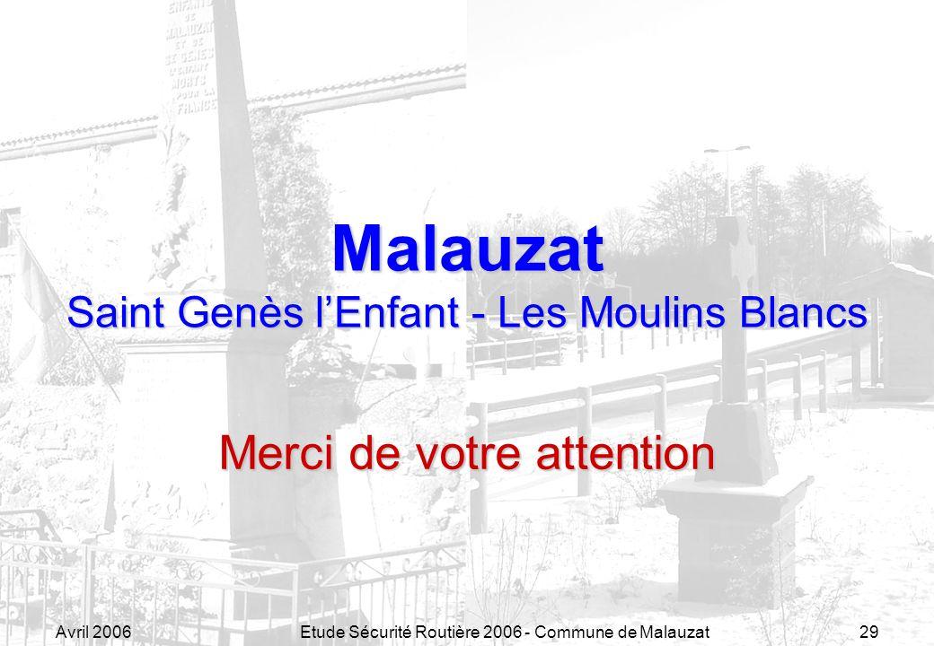 Avril 2006Etude Sécurité Routière 2006 - Commune de Malauzat29 Malauzat Saint Genès lEnfant - Les Moulins Blancs Merci de votre attention