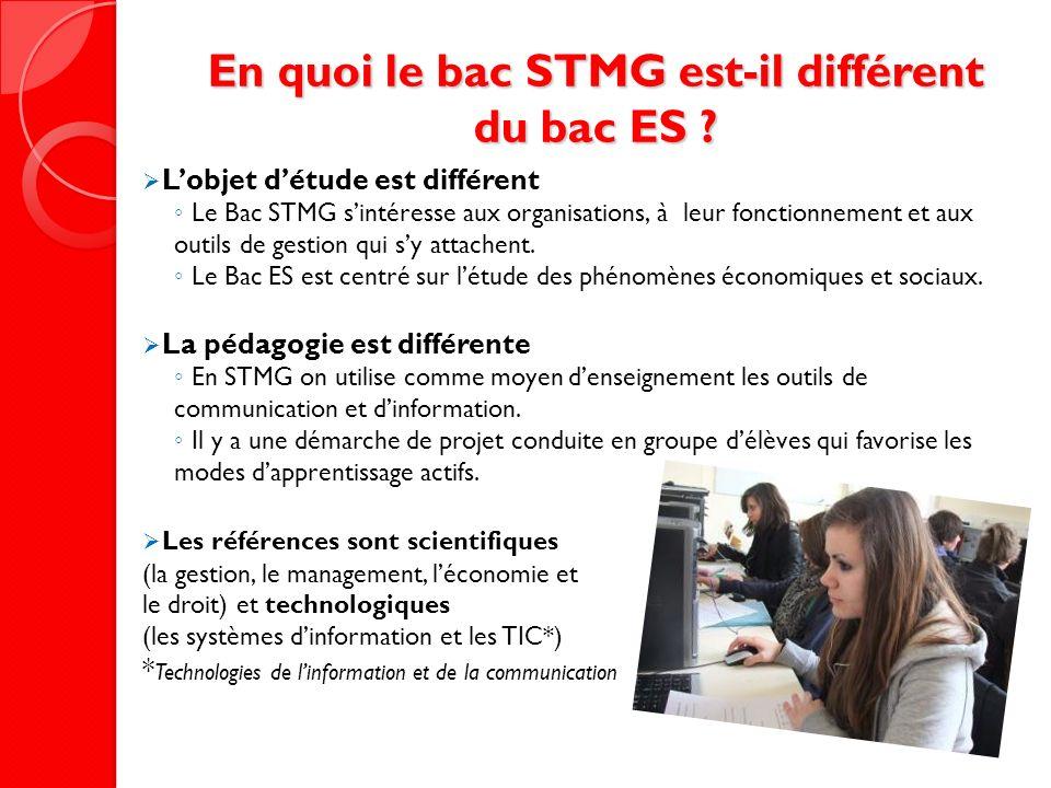 En quoi le bac STMG est-il différent du bac ES ? Lobjet détude est différent Le Bac STMG sintéresse aux organisations, à leur fonctionnement et aux ou