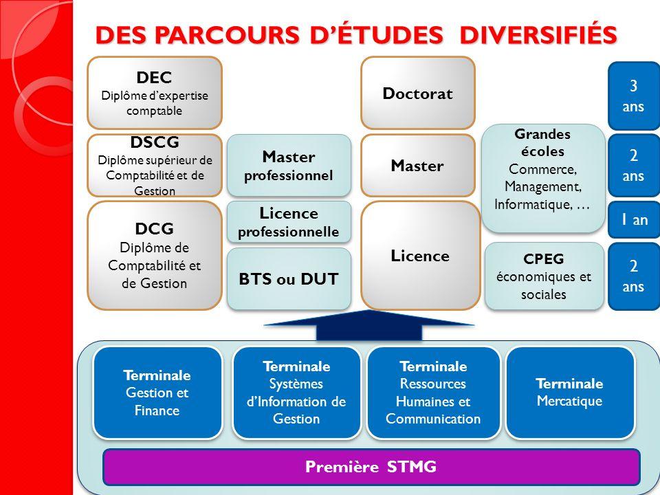 Première STMG Terminale Gestion et Finance Terminale Mercatique Terminale Ressources Humaines et Communication Terminale Systèmes dInformation de Gest