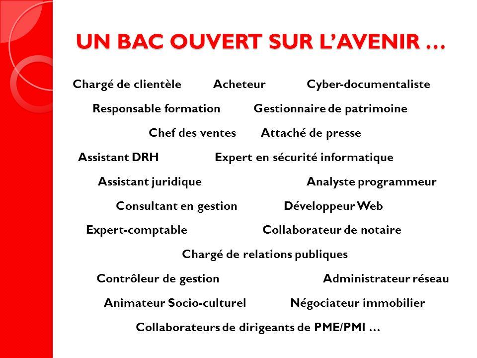 UN BAC OUVERT SUR LAVENIR … Chargé de clientèle Acheteur Cyber-documentaliste Responsable formation Gestionnaire de patrimoine Chef des ventes Attaché