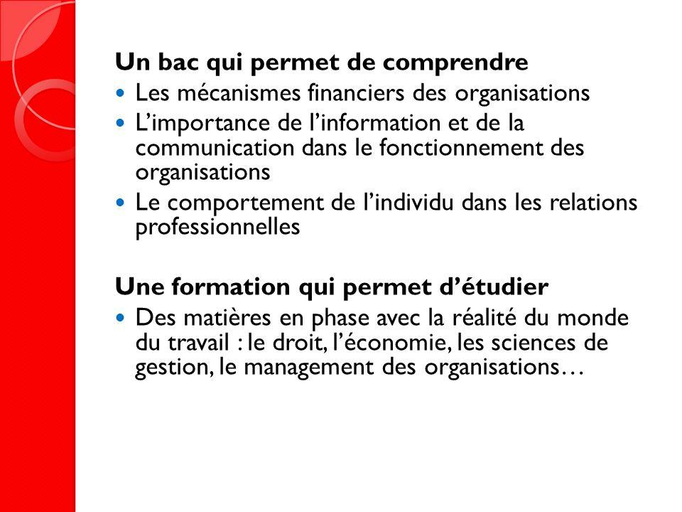 Un bac qui permet de comprendre Les mécanismes financiers des organisations Limportance de linformation et de la communication dans le fonctionnement