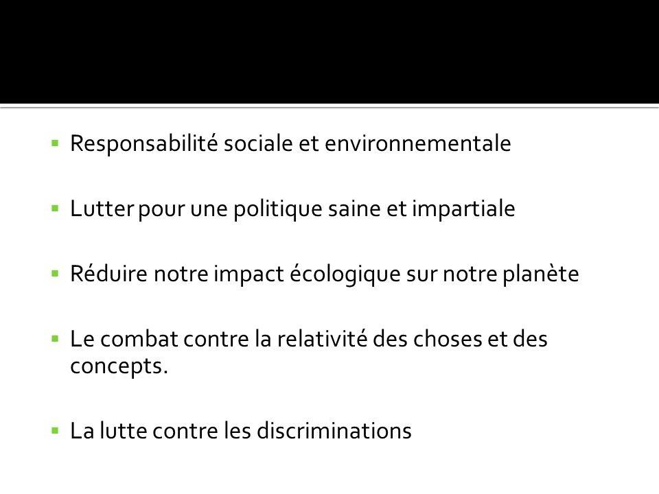 Responsabilité sociale et environnementale Lutter pour une politique saine et impartiale Réduire notre impact écologique sur notre planète Le combat contre la relativité des choses et des concepts.