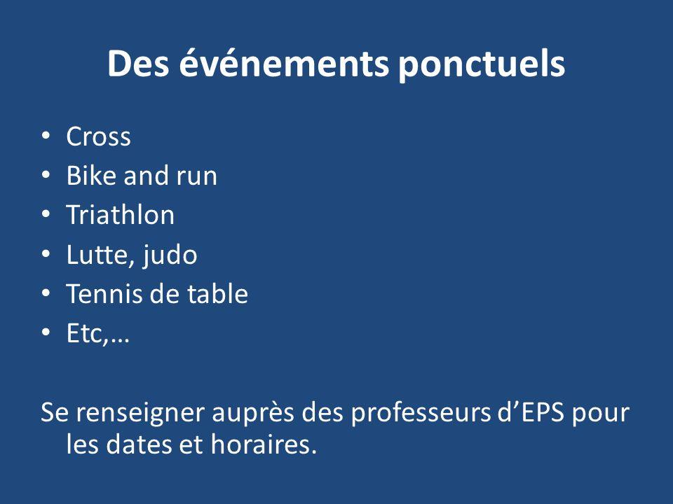 Des événements ponctuels Cross Bike and run Triathlon Lutte, judo Tennis de table Etc,… Se renseigner auprès des professeurs dEPS pour les dates et horaires.