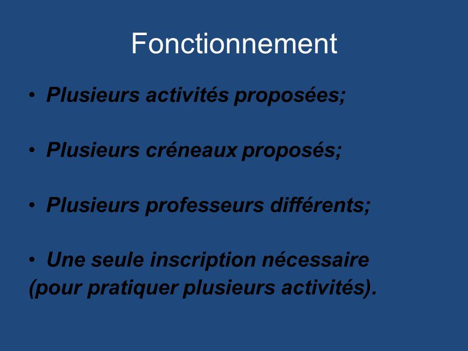 Fonctionnement Plusieurs activités proposées; Plusieurs créneaux proposés; Plusieurs professeurs différents; Une seule inscription nécessaire (pour pratiquer plusieurs activités).