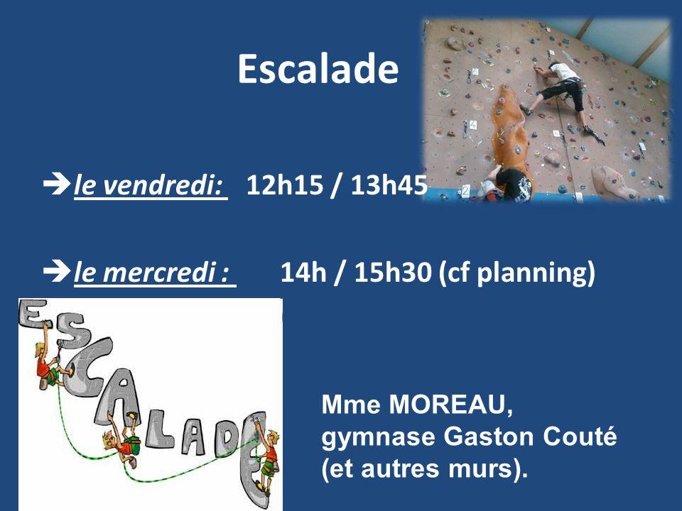 Escalade le vendredi: 12h15 / 13h45 le mercredi : 14h / 15h30 (cf planning) Mme MOREAU, gymnase Gaston Couté (et autres murs).