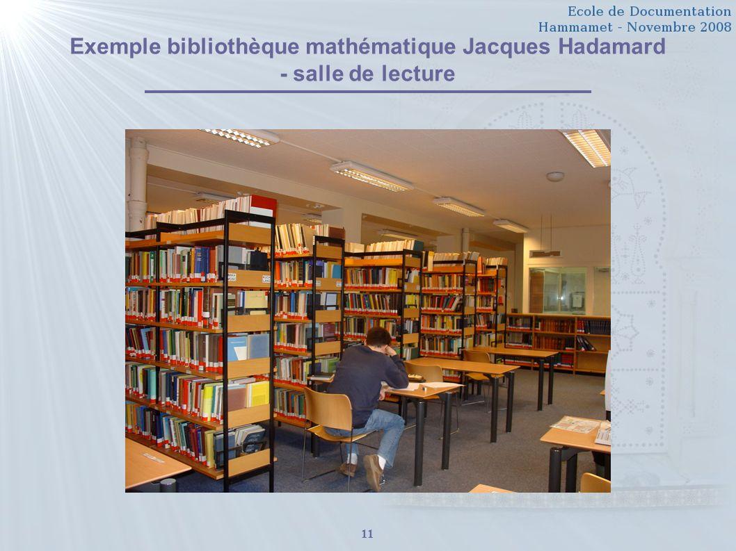 11 Exemple bibliothèque mathématique Jacques Hadamard - salle de lecture