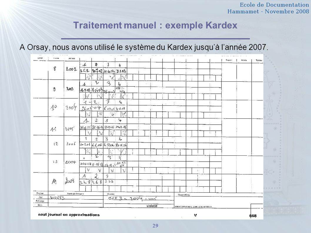 29 Traitement manuel : exemple Kardex A Orsay, nous avons utilisé le système du Kardex jusquà lannée 2007.