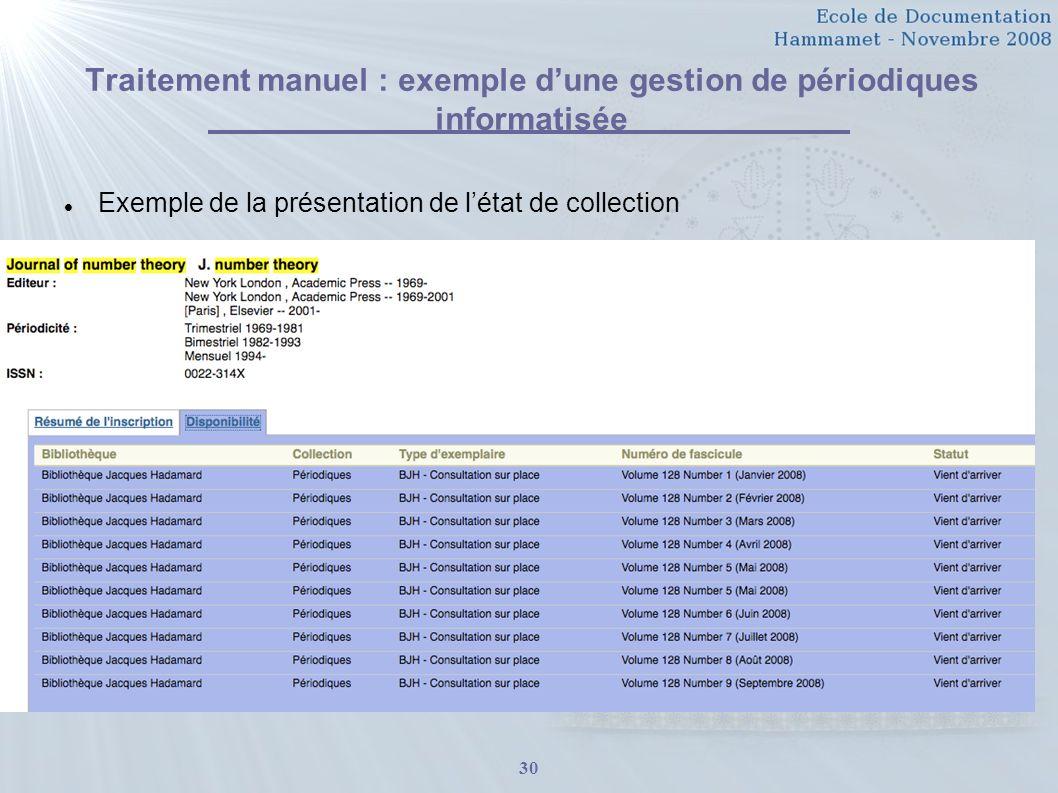 30 Traitement manuel : exemple dune gestion de périodiques informatisée Exemple de la présentation de létat de collection