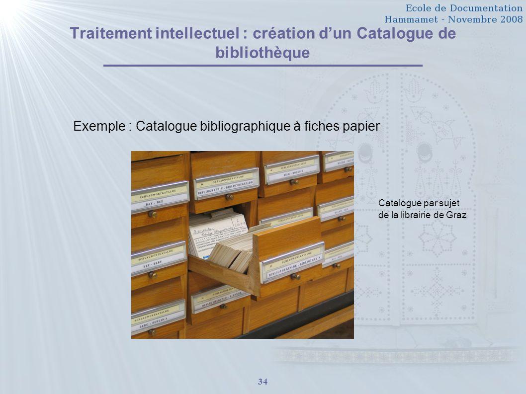 34 Traitement intellectuel : création dun Catalogue de bibliothèque Exemple : Catalogue bibliographique à fiches papier Catalogue par sujet de la libr