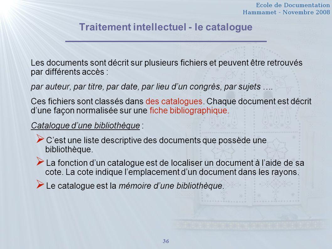 36 Traitement intellectuel - le catalogue Les documents sont décrit sur plusieurs fichiers et peuvent être retrouvés par différents accès : par auteur