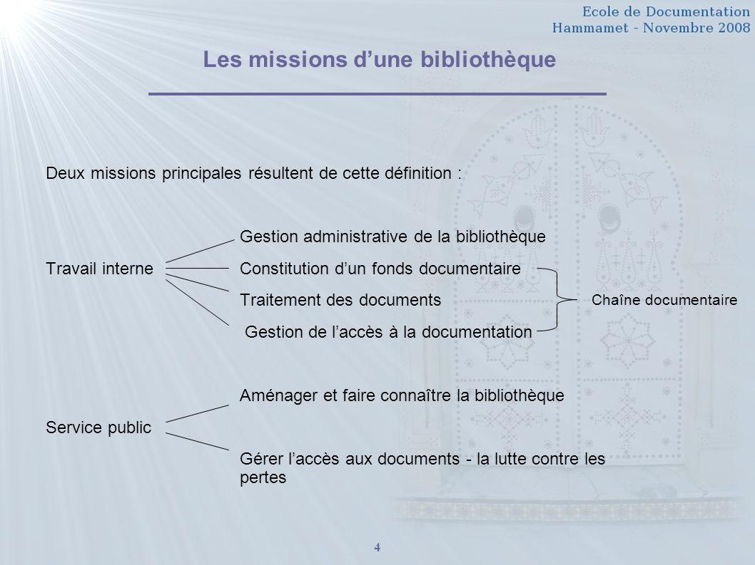 4 Les missions dune bibliothèque Deux missions principales résultent de cette définition : Gestion administrative de la bibliothèque Travail interneCo