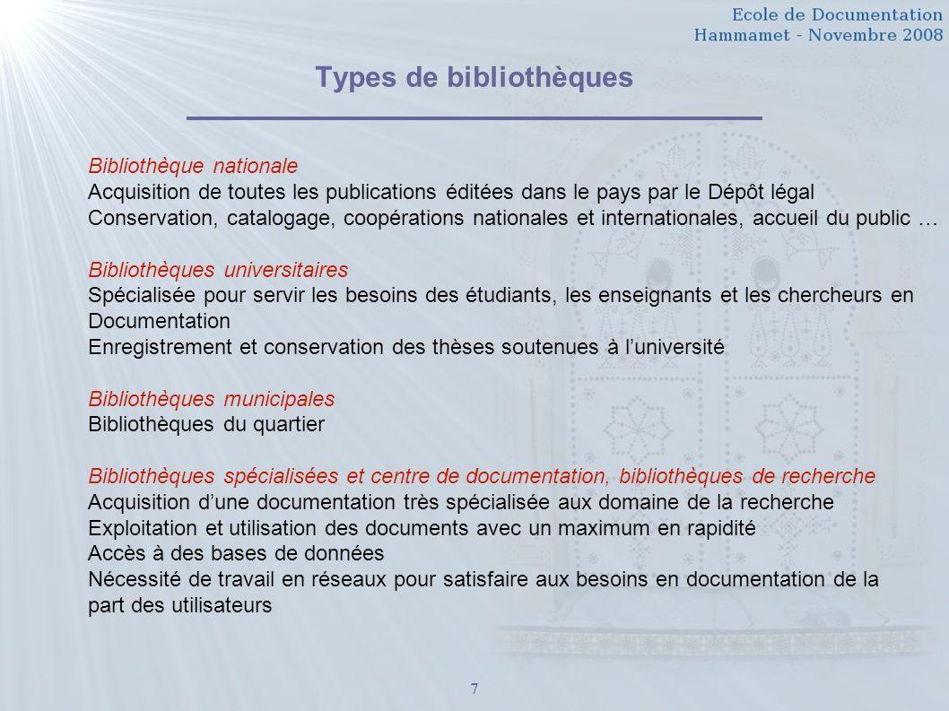 7 Types de bibliothèques Bibliothèque nationale Acquisition de toutes les publications éditées dans le pays par le Dépôt légal Conservation, catalogag