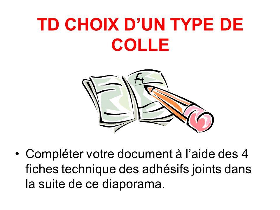 TD CHOIX DUN TYPE DE COLLE Compléter votre document à laide des 4 fiches technique des adhésifs joints dans la suite de ce diaporama.