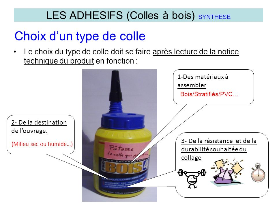 Le choix du type de colle doit se faire après lecture de la notice technique du produit en fonction : LES ADHESIFS (Colles à bois) SYNTHESE Choix dun