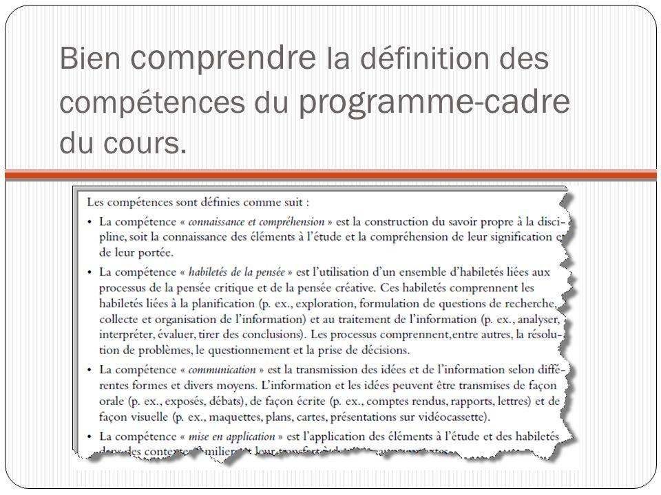 Bien comprendre la définition des compétences du programme-cadre du cours.