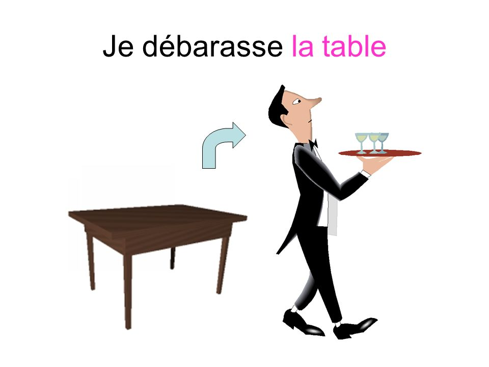 Je débarasse la table
