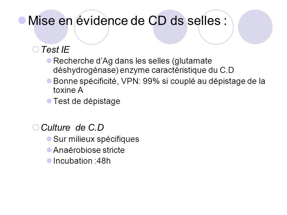 Mise en évidence de CD ds selles : Test IE Recherche dAg dans les selles (glutamate déshydrogénase) enzyme caractéristique du C.D Bonne spécificité, V