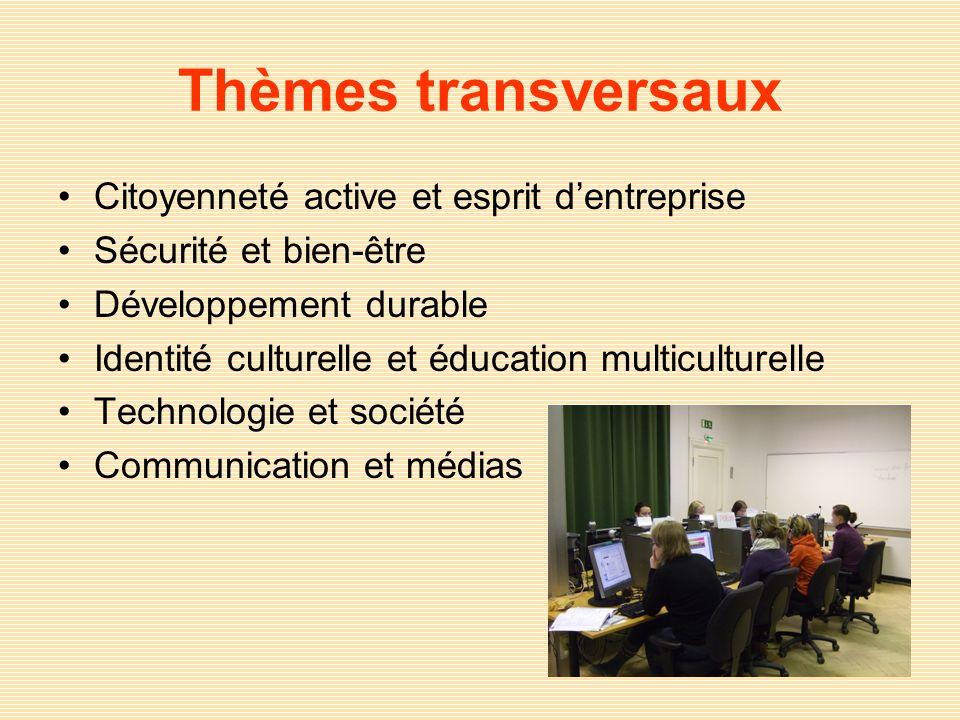 Thèmes transversaux Citoyenneté active et esprit dentreprise Sécurité et bien-être Développement durable Identité culturelle et éducation multiculture