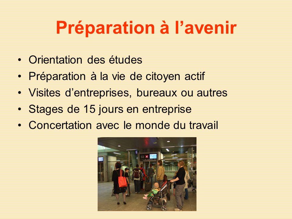 Préparation à lavenir Orientation des études Préparation à la vie de citoyen actif Visites dentreprises, bureaux ou autres Stages de 15 jours en entre