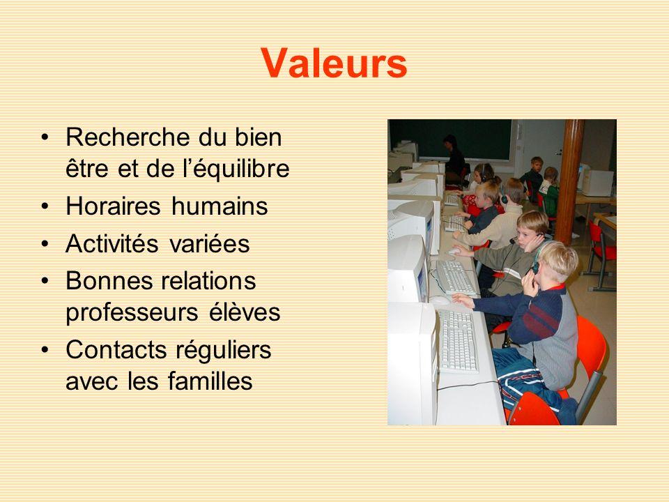 Valeurs Recherche du bien être et de léquilibre Horaires humains Activités variées Bonnes relations professeurs élèves Contacts réguliers avec les fam