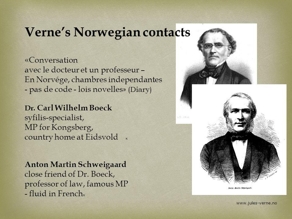 www.jules-verne.no Vernes Norwegian contacts «Conversation avec le docteur et un professeur – En Norvége, chambres independantes - pas de code - lois